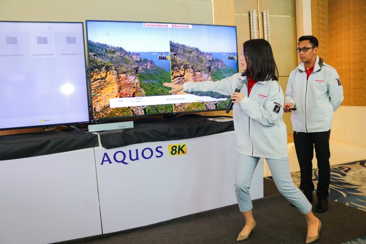 Supervisor of Asia Sales Promotion Division for Global TV Business Unit, Ms. Yukari Kawabata doing a AQUOS 8K TV demo.jpg